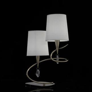 Lámpara de mesa doble pantalla blanca mara cuero mantra