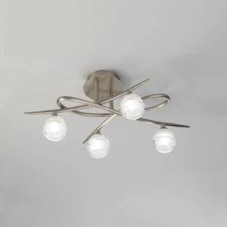 Lámpara de techo loop ninquel satinado mantra cuatro luces