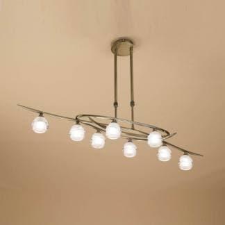 Lámpara de techo loop cuero mantra ocho luces