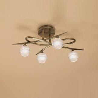 Lámpara de techo loop cuero mantra cuatro luces