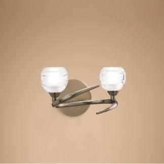 Aplique de pared doble luz loop cuero mantra