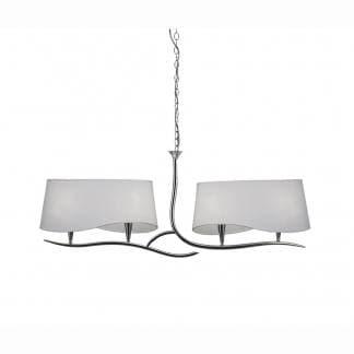 Lámpara de techo ninette cromo pantalla blanca mantra cuatro luces