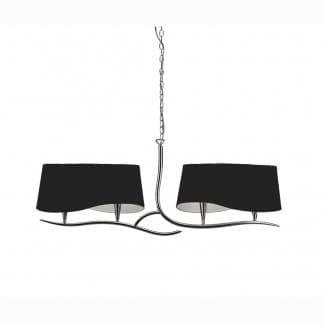 Lámpara de techo doble pantalla negra ninette cromo