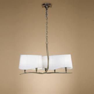 Lámpara de techo ninette cuero pantalla blanca mantra seis luces