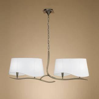 Lámpara de techo ninette cuero pantalla blanca mantra cuatro luces