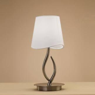 Lámpara de mesa ninette cuero pantalla blanca mantra
