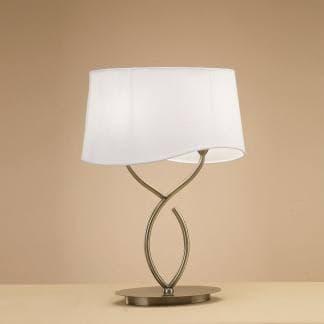 Lámpara de mesa doble bombilla ninette cuero pantalla blanca mantra