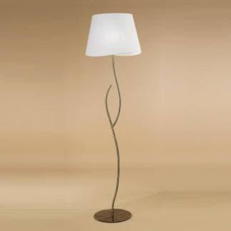 Lámpara de pie satinada ninette cuero pantalla blanca mantra