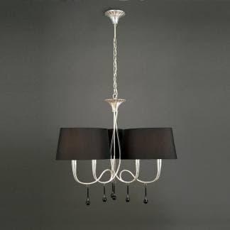 Lámpara de techo paola pintura plateada mantra seis luces