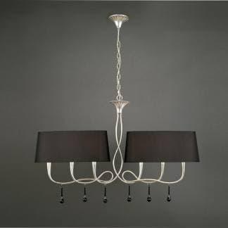 Lámpara de techo paola plateada mantra seis luces