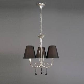 Lámpara de techo paola plateada mantra tres luces