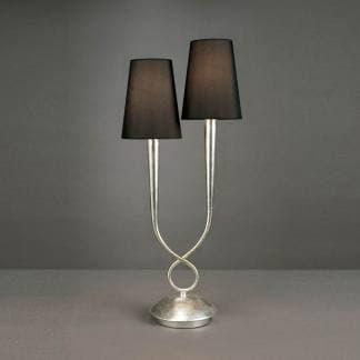Lámpara de mesa plateada doble pantalla negra paola mantra