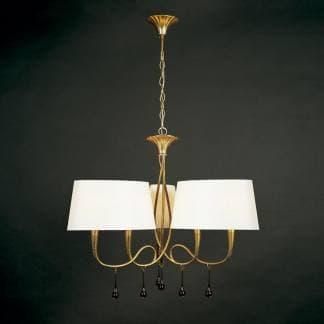 Lámpara de techo paola pintura dorada mantra seis luces