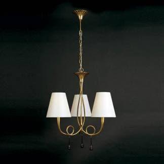 Lámpara de techo paola pintura dorada mantra tres luces
