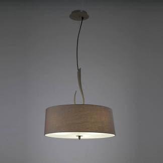 Lámpara de techo pantalla con tres luces lua gris ceniza Mantra