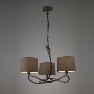 Lámpara de techo lua gris ceniza Mantra tres luces