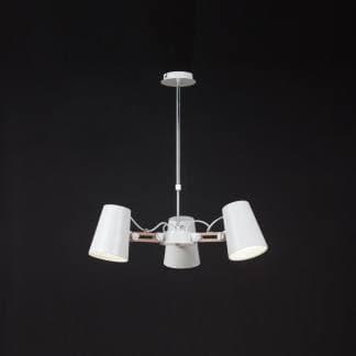 Lámpara de techo acero madera looker Mantra tres luces