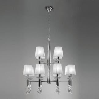 Lámpara de techo tiffany cromo Mantra doce luces