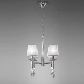 Lámpara de techo tiffany cromo Mantra cuatro luces