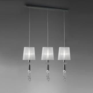Lámpara de techo triple pantalla blanca tiffany cromo mantra