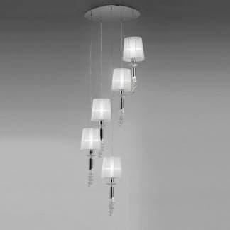 Lámpara de techo colgante tiffany cromo Mantra cinco luces