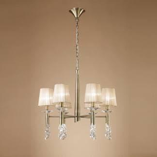 Lámpara de techo tiffany cuero Mantra seis luces