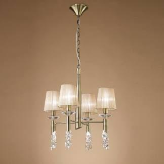 Lámpara de techo tiffany cuero Mantra cuatro luces