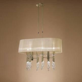 Lámpara de techo tiffany cuero Mantra seis luces en una pantalla
