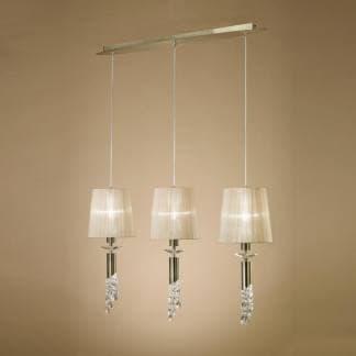Lámpara de techo tiffany cuero Mantra tres luces