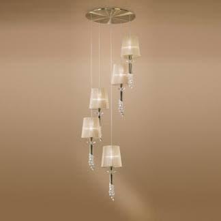 Lámpara de techo tiffany cuero Mantra cinco luces a diferentes alturas