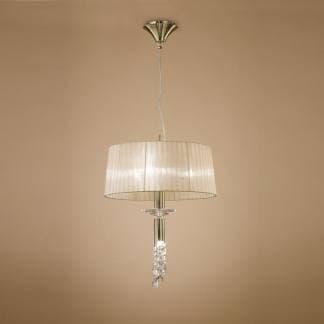Lámpara de suspensión satinada tiffany cuero Mantra