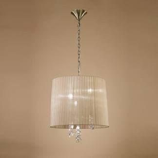 Lámpara de techo tiffany cuero Mantra