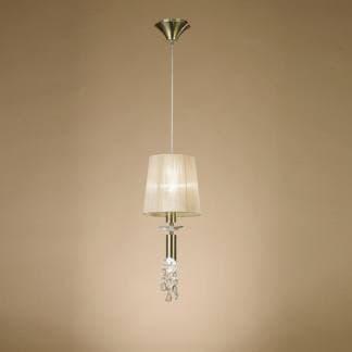 Lámpara de techo acero satinado tiffany cuero Mantra