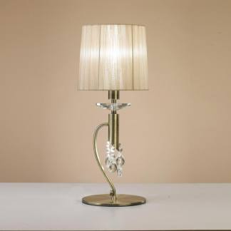 Lámpara de mesa acero satinado tiffany cuero Mantra
