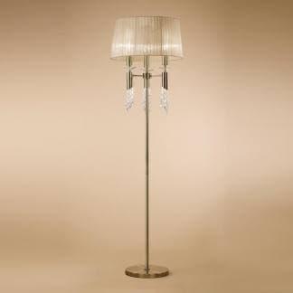 Lámpara de pie acero satinado cristal y tela tiffany cuero Mantra