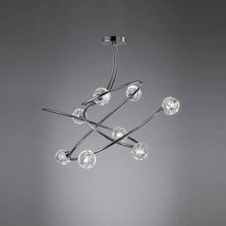 Lámpara de techo cromo y cristal maremagnum cromo Mantra ocho luces