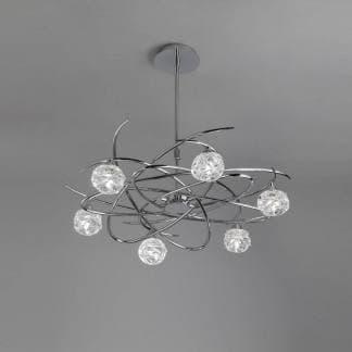 Lámpara de techo cromo y cristal maremagnum cromo Mantra