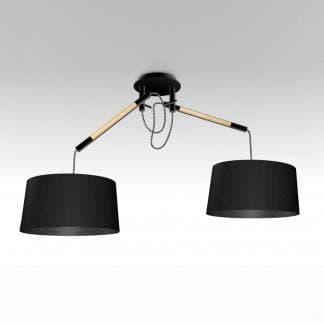 Lámpara de techo nórdica madera con pantalla negra mantra