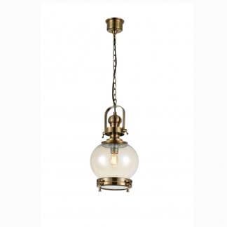 Lámpara de techo vintage bronce y cristal redonda Mantra 24cm