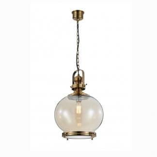 Lámpara de techo vintage bronce y cristal Mantra 33cm