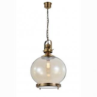 Lámpara de techo vintage bronce y cristal Mantra 40cm