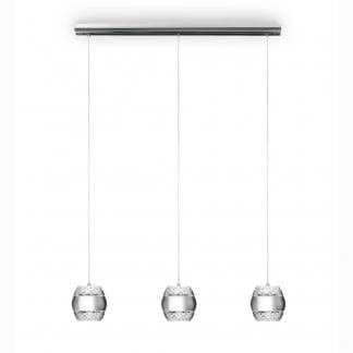Lámpara de techo plateada khalifa Mantra tres luces