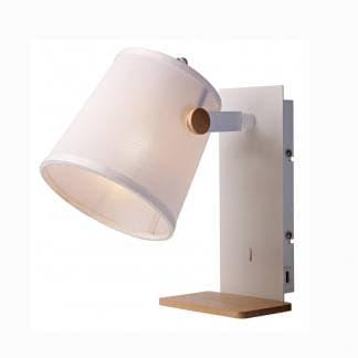Lámpara de mesita de noche nórdica blanca Mantra con USB