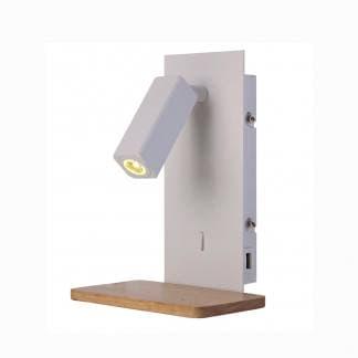 Aplique mesita de noche nórdica blanco y madera Mantra con USB