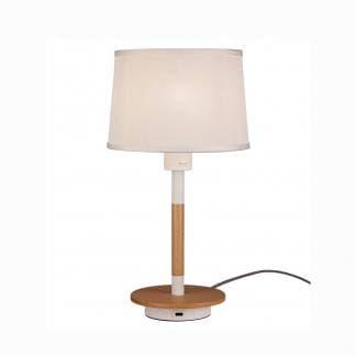 Lámpara de mesita de noche nórdica madera y blanco mantra con USB