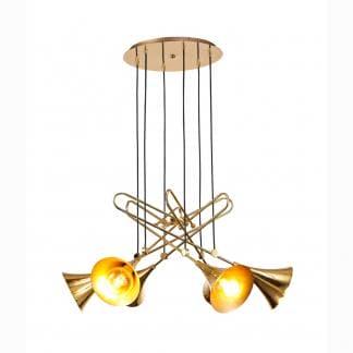 Lámpara de techo trompeta oro jazz Mantra seis luces