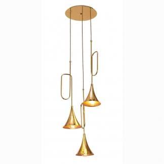 Lámpara de techo trompeta dorada jazz Mantra tres luces