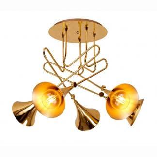 Lámpara de techo trompeta dorada jazz Mantra cinco luces