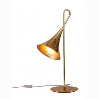 Lámpara de mesa trompeta dorada jazz Mantra
