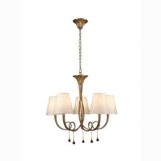 Lámpara de techo paola dorada Mantra cinco luces